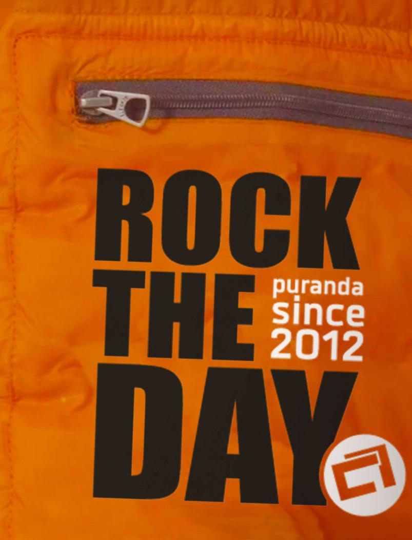 Daunenjacke Rock the Day - orange - Aufdruck