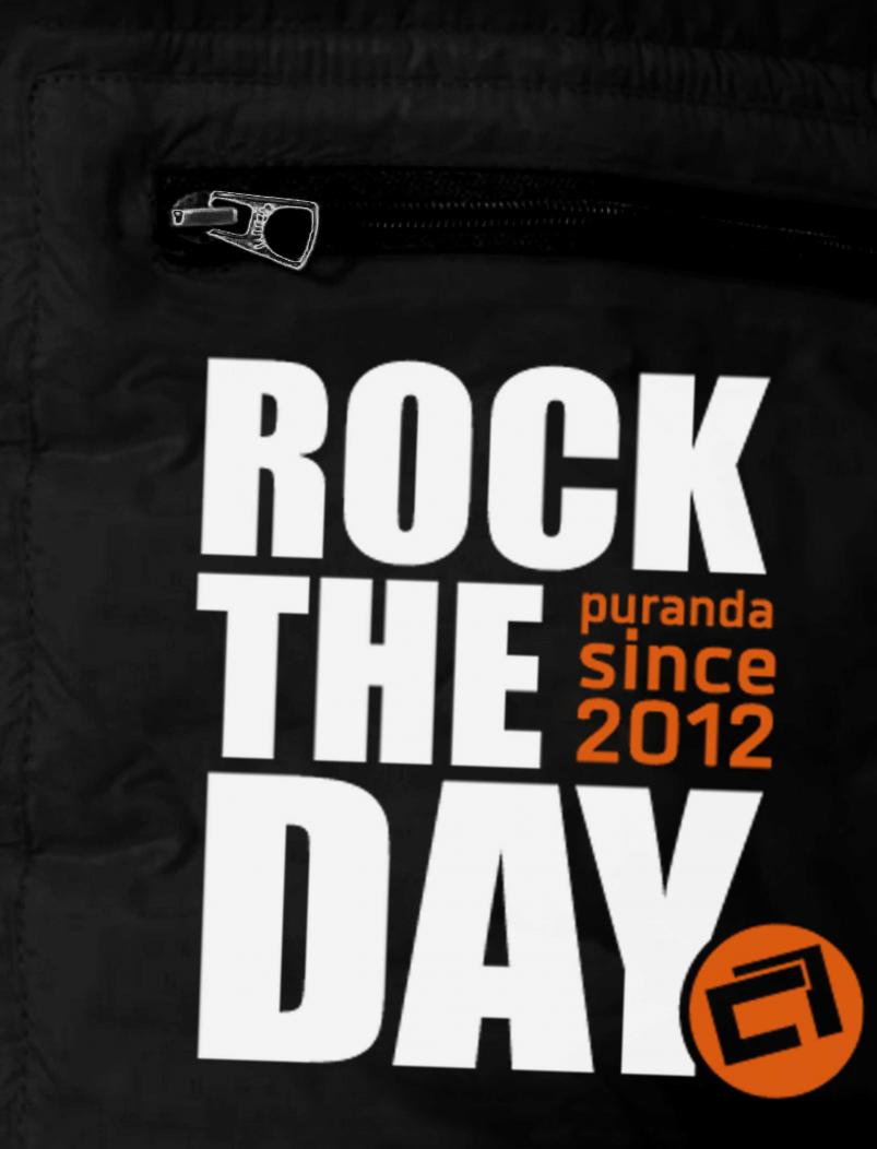 Daunenjacke Rock the Day - schwarz - Aufdruck