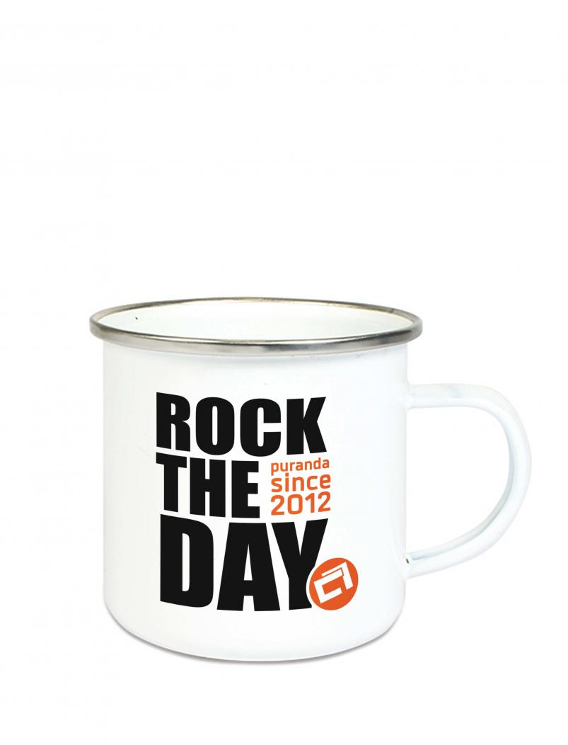 Emaille Becher Rock the Day - 300 ml